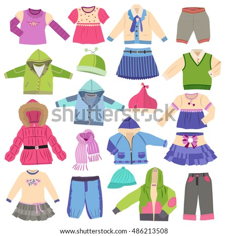 Large set of fashion children's clothes isolated on white background  (vector illustration)