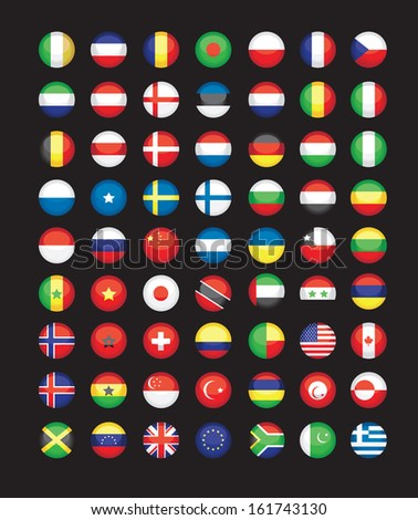 large set of flag icons - stock vector