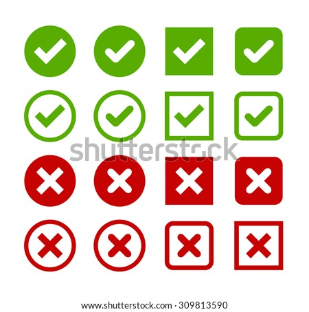Large set of flat buttons: green check marks and red crosses. Circle and square, hard and rounded corners. - stock vector