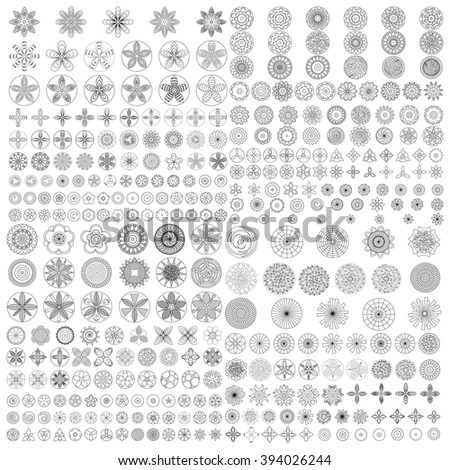 Large Set of flat liner icon flower. Black and white, Isolated floral elements for coloring book. Floral icons, logo, stickers, labels, tags. Create imaginary composition.