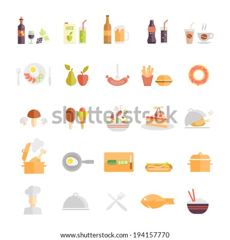 Large set of food and beverage icons with wine  beer  fruit juice  soda  coffee  sausage  fruit  takeaways  mushroom  lolly  salad  cake  roast  stew  egg  hotdog  chef  dome  fish  rice and cutlery
