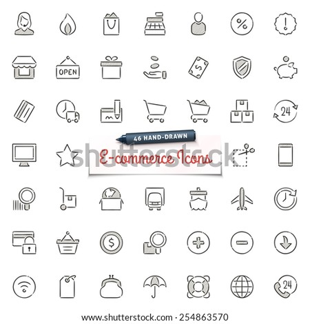 Large set of hand-drawn shopping and web store icons. Only solid fills used. File format is EPS8. - stock vector