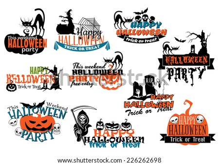 Large set of Happy Halloween vector banners with various texts decorated with pumpkins, bats, black cats, witches, grim reaper, ghosts, skulls and jack-o-lanterns in orange and black on white - stock vector