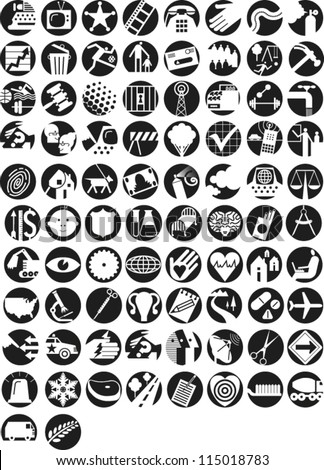 Large set of icons illustrating themes in finance, economy, government, infrastructure, health, science, technology, information, environment and communication