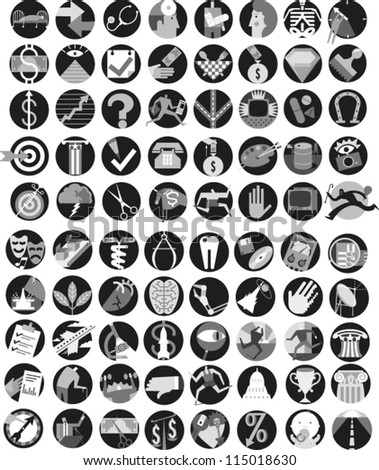 Large set of icons illustrating themes of environment, government, information, technology, health care, science, finance, infrastructure and the arts - stock vector