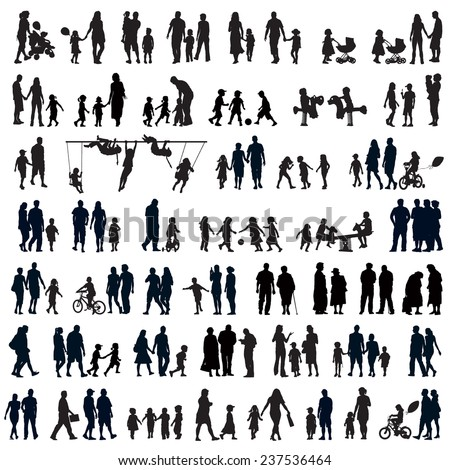 Large set of people silhouettes. Families, couples, kids and elderly people. - stock vector