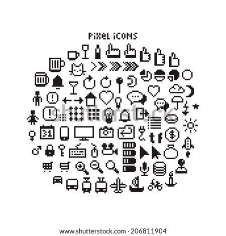 Large set of pixel art 8-bit icons for a smartphone or web. Weather, pointers, smartphone UI, different transport vehicles and other black and white pictogram - stock vector