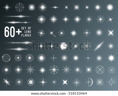 Large set of realistic lens flares star lights and glow white elements on transparent background. Vector illustration - stock vector