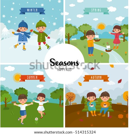 Large set of seasons. Beautiful scenery in the winter, summer, spring and autumn theme. Happy children are skating, launch a boat, sit in the autumn park and enjoy the summer. Cartoon landscape.