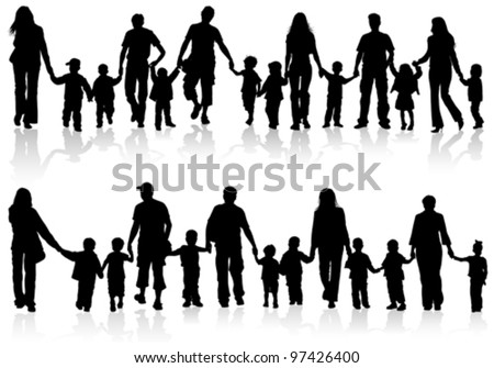 Large Set of Silhouettes of Parents with Children holding Hands, vector illustration - stock vector