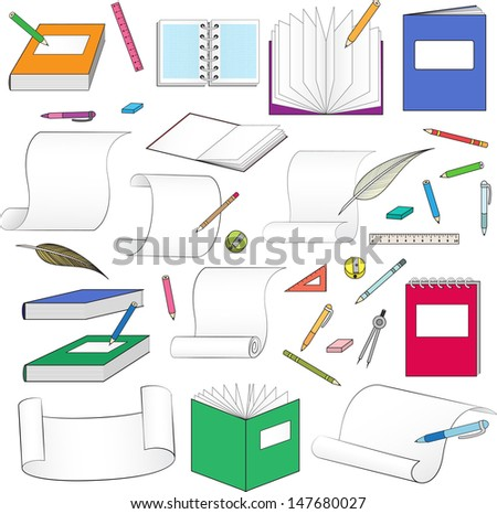 large set of stationery for school, office, paper and scrolls