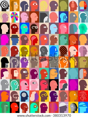 Large set of various human head images. Vector graphic design. Can be used as seamless wallpaper. - stock vector