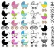 Large Set of Vector Baby Carriages, including Outlines and Silhouettes - stock photo