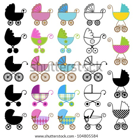 Large Set of Vector Baby Carriages, including Outlines and Silhouettes - stock vector