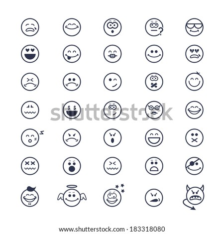 large set of vector icons of smiley faces on white background - stock vector