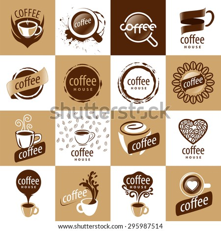 large set of vector logos coffee - stock vector