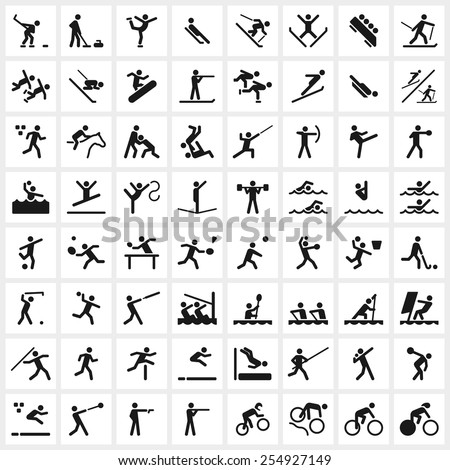 Large Set Vector Sports Symbols Including Stock Vector 2018