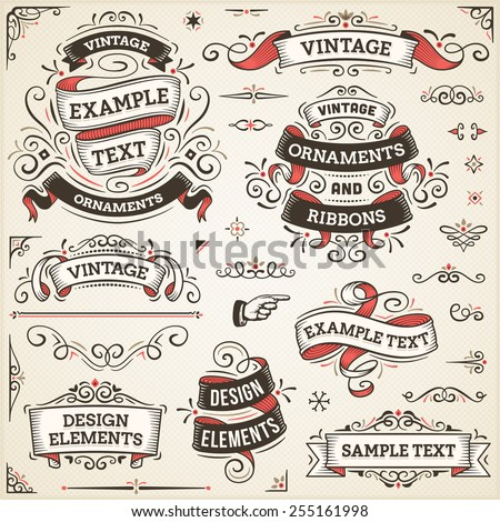 "Large set of vintage vector ornaments and ribbons. The fonts are called ""Arvo"", ""Bebas Neue"", ""Bitter"" and ""Cubano"". - stock vector"