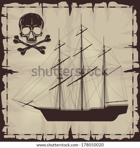 Large ship and skull over old paper. Vector illustration. - stock vector