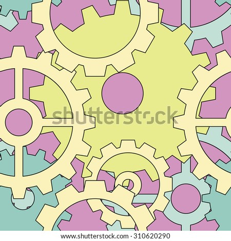 Large sweet color steampunk gear seamless pattern - stock vector