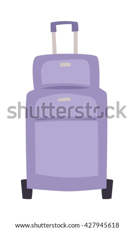 Large travel bag suitcase isolated on white and suitcase travel voyage. Travel suitcase handle baggage and suitcase tourist packing. Summer travel vacation bag with stickers - stock vector