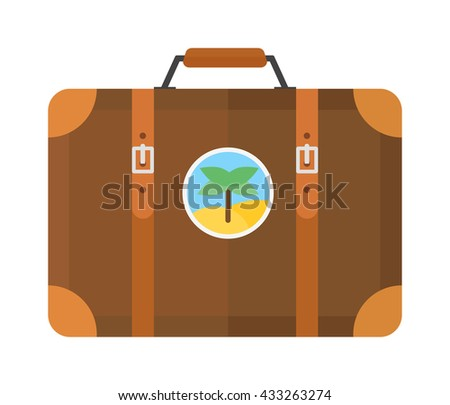 Large travel bag suitcase isolated on white and suitcase travel voyage. Travel suitcase handle baggage and suitcase tourist packing. Summer travel vacation bag isolated - stock vector