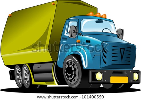 Large truck with a green body carries the load (vector illustration);