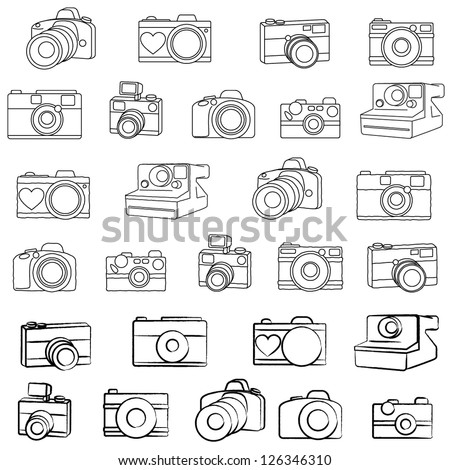 Large Vector Camera Set with Three Different Drawing Styles - stock vector