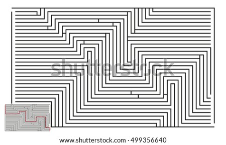 Large Vector Horizontal Maze with Answer