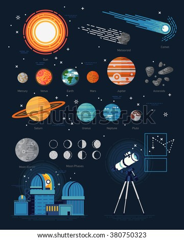 Large vector set of astronomy flat icons with planets, stars, asteroids, comet, observatory, moon phases, telescope, meteoroid. Solar system celestial bodies, moon phases, planetarium and telescope - stock vector