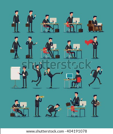 Large vector set of businessman character poses, gestures and actions. Office worker professional standing, walking, talking on phone, working, running, jumping, searching, and more. - stock vector