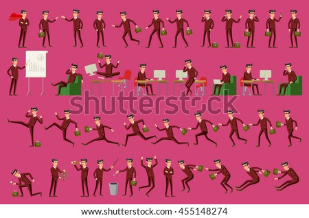 Large vector set of businessman character poses, gestures and actions. Office worker professional standing, walking, talking on phone, working, running, jumping, searching, and more. art - stock vector