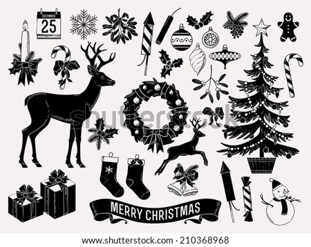 Large vector set of christmas themed items black on milk white silhouettes such as mistletoe, snow man, jingle bells, wreath, deer, candle, noel tree and more - stock vector