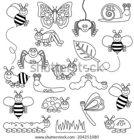 Large Vector Set of Cute Cartoon Bug Line Art - stock vector