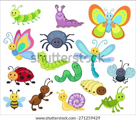 large vector set cute cartoon bugs stock vector 271259429