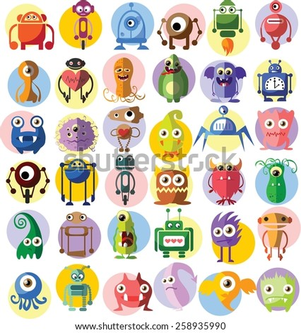 Large vector set of drawings of different characters isolated monsters, robots, germs, bacteria, aliens and other Halloween characters for your design, prints and banners - stock vector