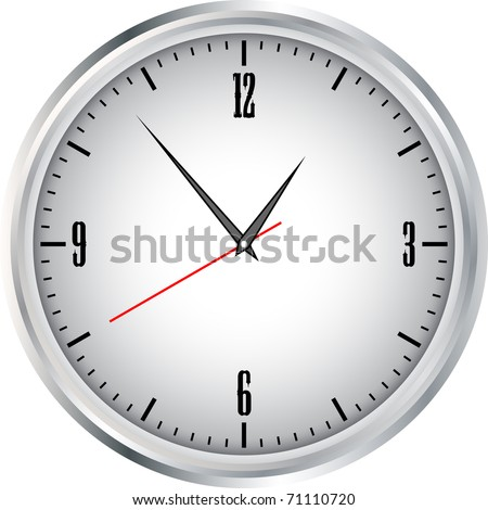 Large white wall clock on a white background