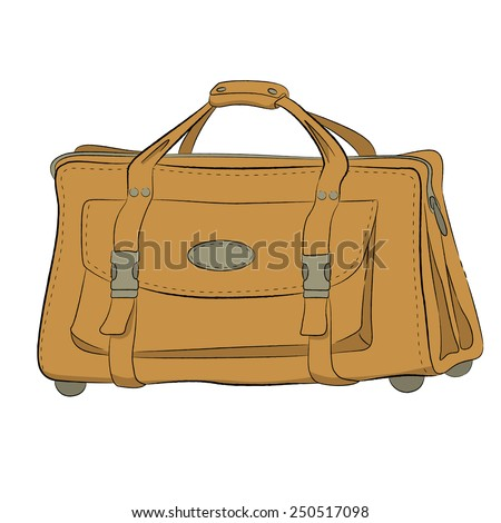 Large yellow leather bag on rollers with big pocket on front  side drawn by hand - stock vector