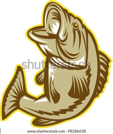 Largemouth Bass Fish Jumping Retro - stock vector
