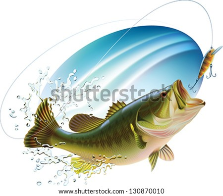 Largemouth bass is catching a bite and jumping in water spray. Layered vector illustration. - stock vector