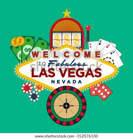 Las Vegas Casino greeting sign with gambling icons vector design - stock vector