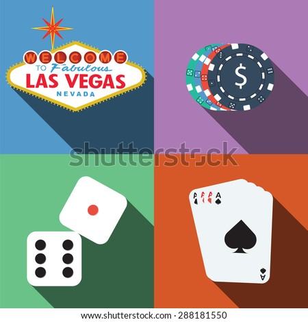 Las Vegas Casino Vector With Long Shadow - stock vector