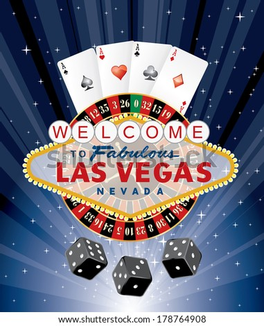 las vegas gambling, vector illustration - stock vector