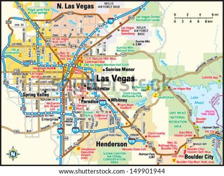 Las Vegas, Nevada area map - stock vector