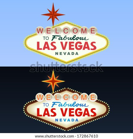 Las Vegas Sign. Day and Night. Vector - stock vector