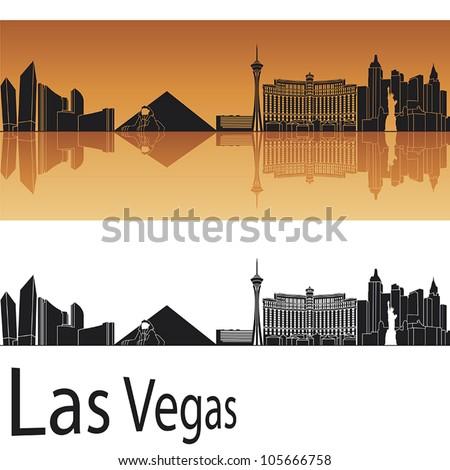 Las Vegas skyline in orange background - stock vector