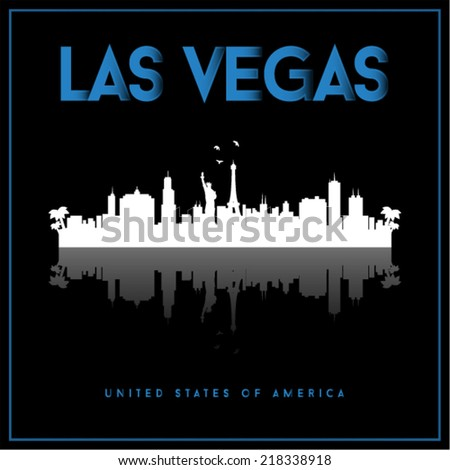 Las Vegas, USA skyline silhouette vector design on black background. - stock vector