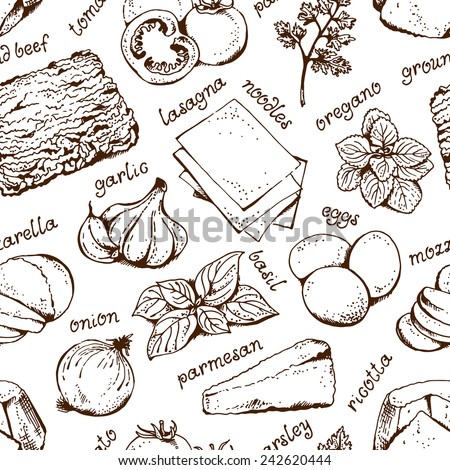 Lasagna food background, seamless hand drawn pattern with text - stock vector