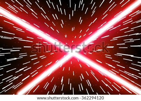 Laser beams in space. Two crossed light swords. Lightsaber. Star. War. Vector illustration. - stock vector
