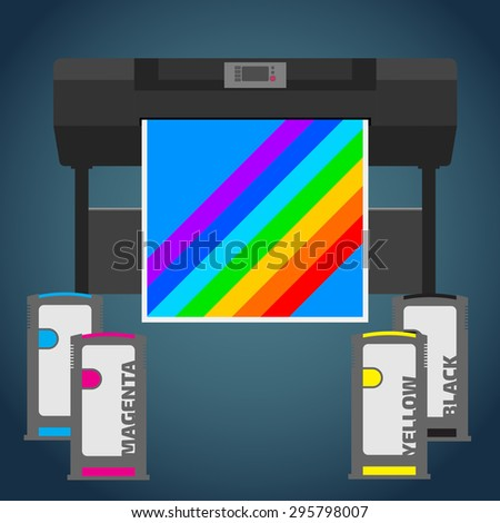 Laser color plotter. White format paper for print. Cyan, magenta, yellow and black cartridge. Info graphics elements. Details for sign and labels. Equipment for office work. Wide format press.